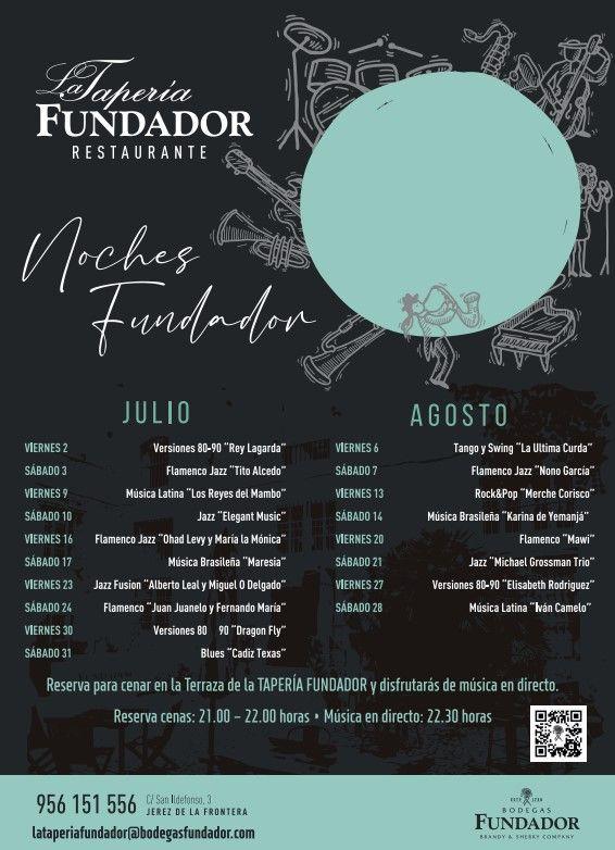 Calendario de actuaciones Verano 2021 Taperia Fundador